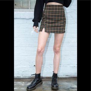Brandy Melville green/red/white plaid cara skirt